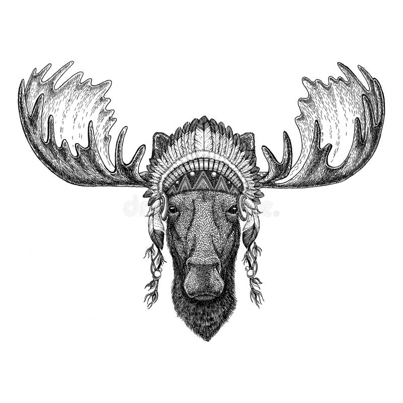 Elche, wildes Tier der Elche, das indischen Hut Kopfschmuck mit ethnisches Bild Federn Boho Stammes- illustraton trägt lizenzfreie abbildung