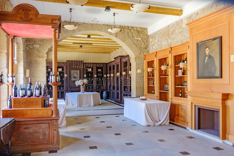Elciego, Álava, Spain. April 23, 2018: Noble room in the premises of the wine cellars of La Rioja called Marqués de Riscal with. A picture of its founder stock photography