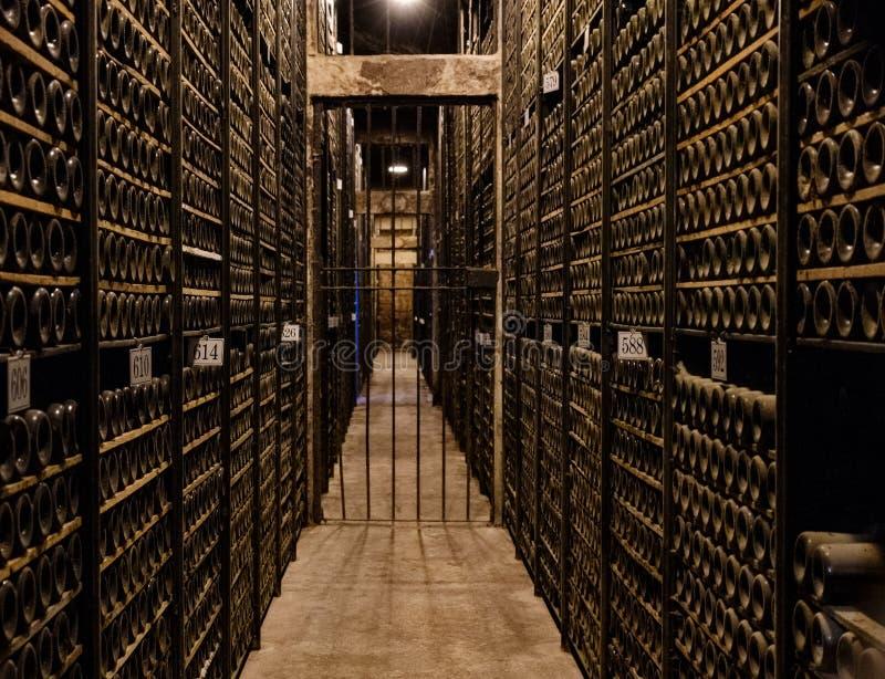 Elciego Ã-lava, Spanien April 23, 2018: Kammaren, var de Rioja vinerna lagras, den speciala reserven av vinodling kallade Marque arkivfoto