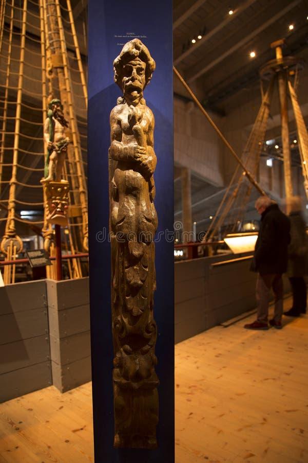 Elden sculpture at battleship Vasa stock images