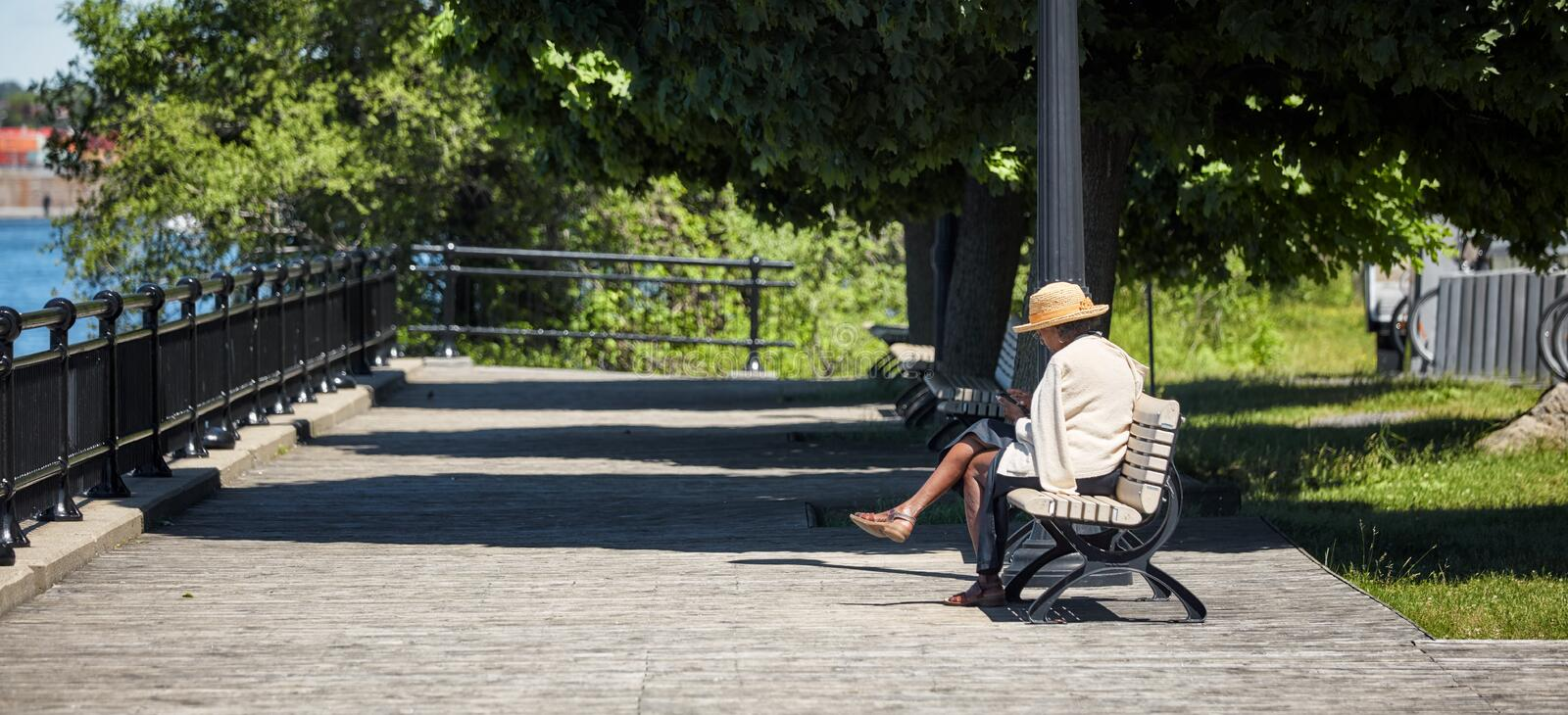 Elder African American woman sits on the wooden bench in a park and browses her smartphone stock images