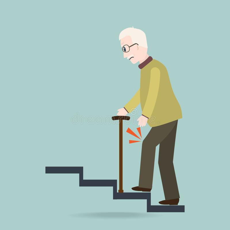 Elder Man with stick and injury of the knee . old people symbol stock illustration
