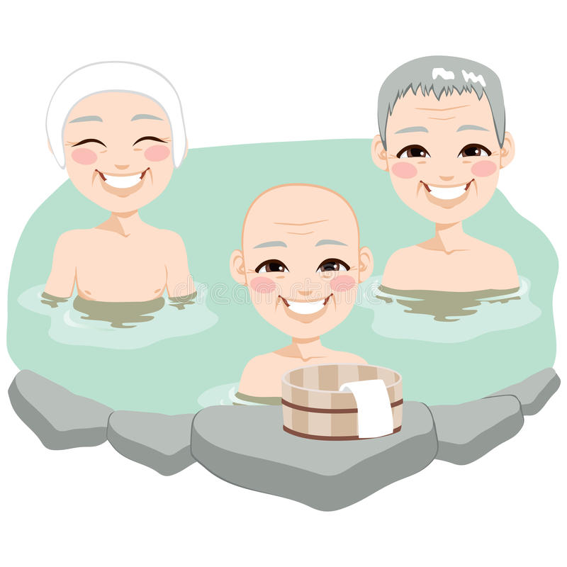 Elder Men Traditional Japanese Onsen. Senior Japanese elder men enjoying traditional Japan hot springs onsen bath royalty free illustration
