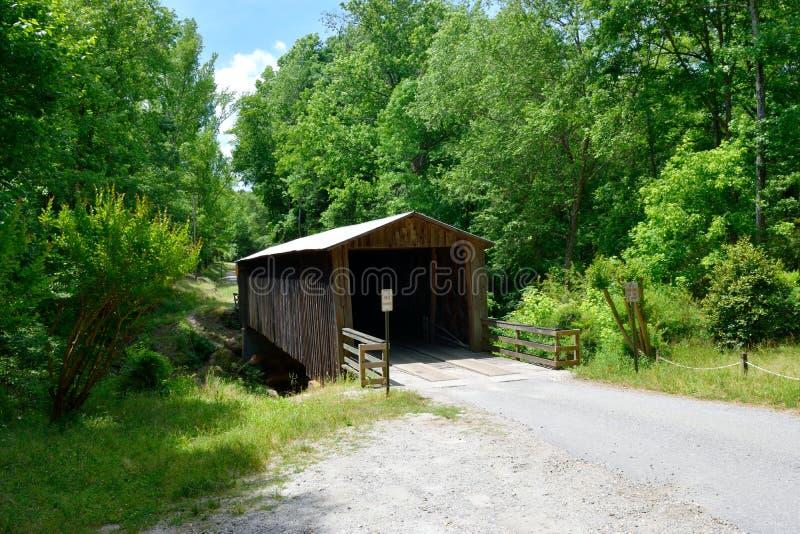 Elder Mill covered bridge background stock photo