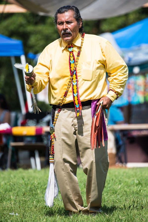 Elder native American gourd dancing royalty free stock photos