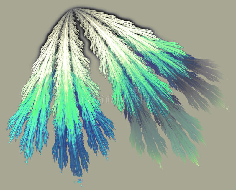 The Elder Way. Four feathers attached at the top are hanging together stock illustration