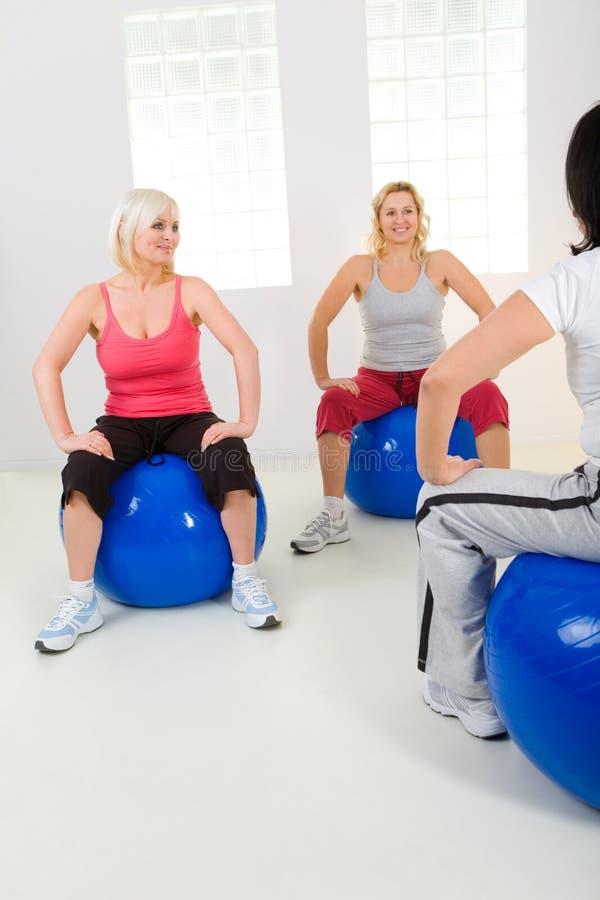 Download Elder Women Exercising On Fitness Balls Stock Photo - Image: 8868640