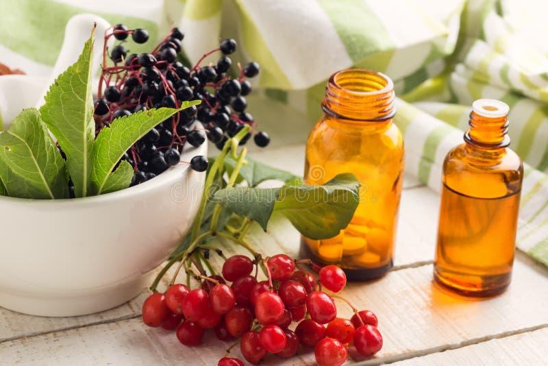 Elderberry in mortar, viburnum, medicines. Homeopathy concept. stock images
