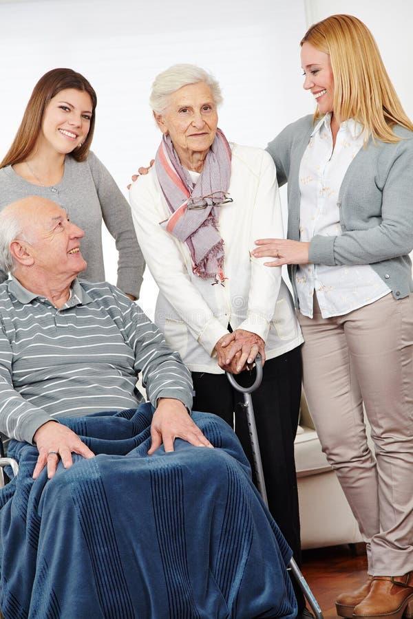 Eldercare nursing service at home. For senior citizen couple stock images