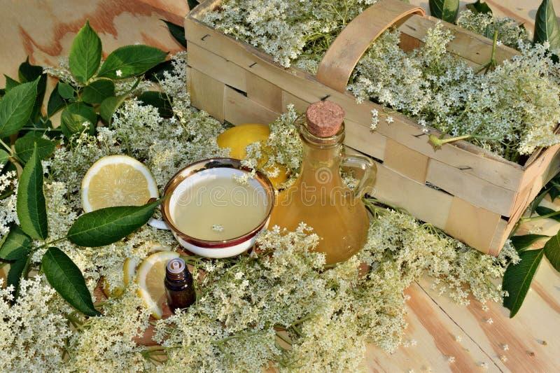 Elderflower糖浆和油 图库摄影