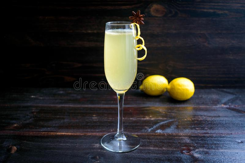 Elderflower French 75 Cocktail with Garnish stock images
