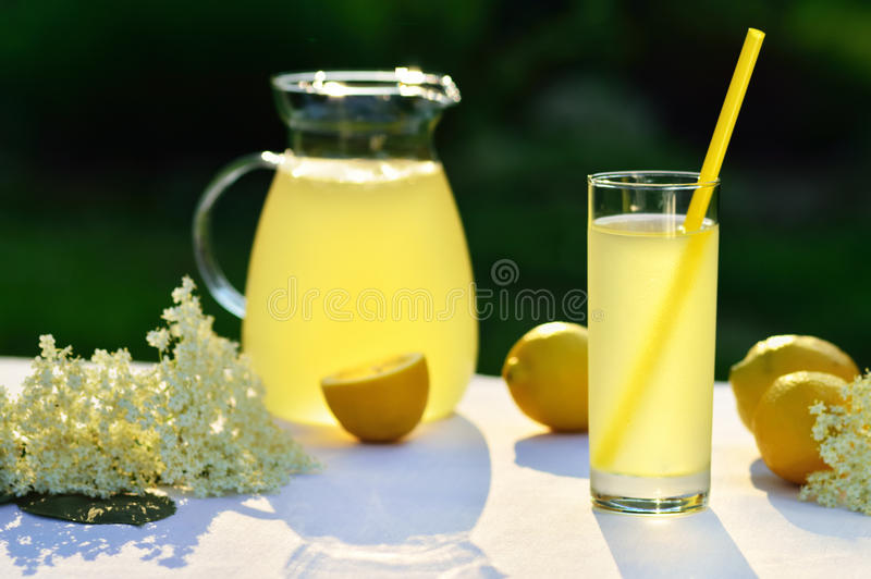 Elderflower juice with lemon on table in a garden. Homemade elderflower juice with lemon on table in a garden. Glass of summer cold drink with lemon stock photo