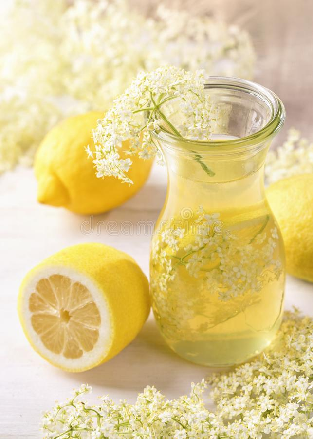 Elderflower syrup. In a glass stock photo