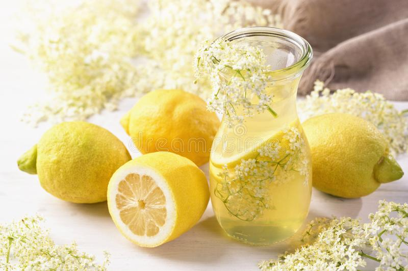 Elderflower syrup. In a glass stock photography