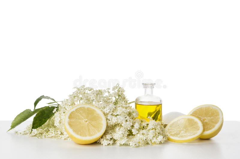 Elderflower syrup, preparation and ingredients, isolated. On white background stock image