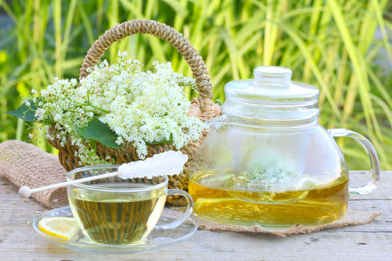 Elderflower tea, elder. Elderflower tea with sugar swizzle stick, elderblossom royalty free stock photos