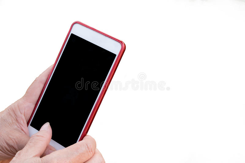 Elderly asia woman hands touch mobile empty screen, using smart phone device. isolated background. stock photo