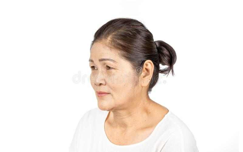 Elderly asian woman portrait 60-70 years old isolated on white background stock photos