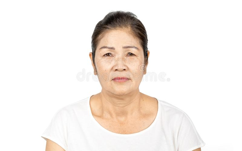 Elderly asian woman portrait 60-70 years old isolated on white background royalty free stock images