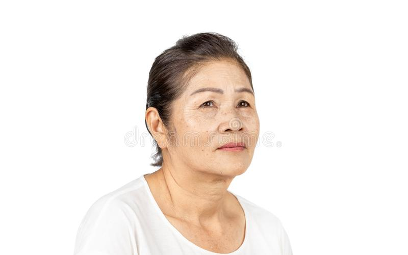 Elderly asian woman portrait 60-70 years old on white background stock photo