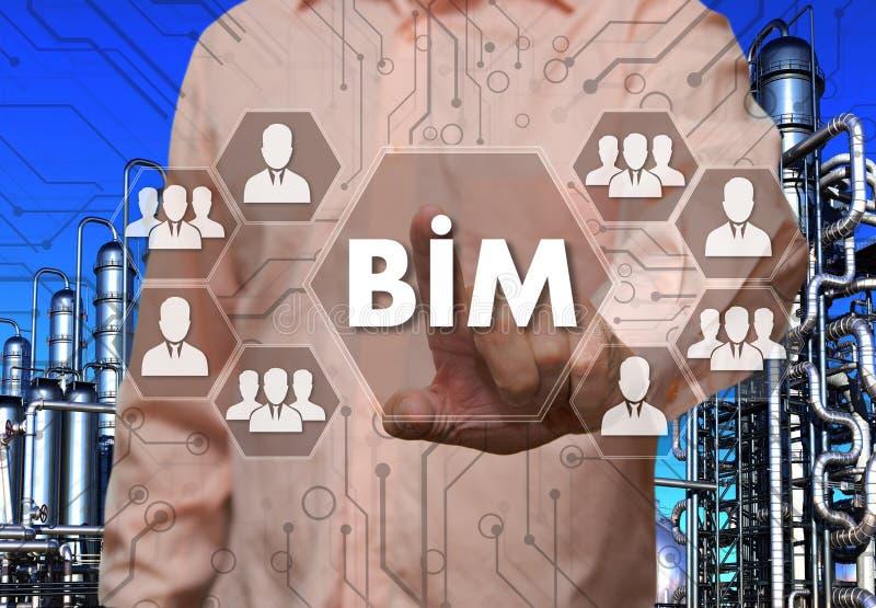 An elderly businessman chooses Building Information Modeling, BI royalty free stock images