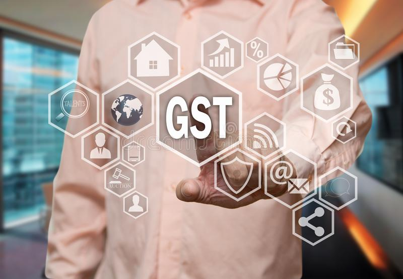 An elderly businessman chooses GST, Goods and Service Tax on the royalty free stock photography