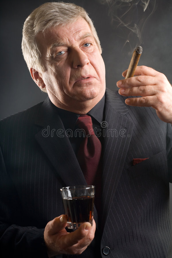 Download Elderly Businessman With Drink And Cigar, Smoking Stock Photos - Image: 2079093