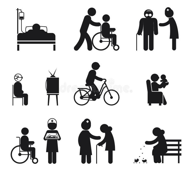 Elderly care icons royalty free illustration