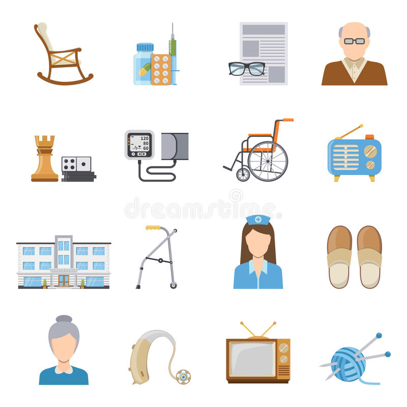 Elderly Care In Nursing Home Icons royalty free illustration