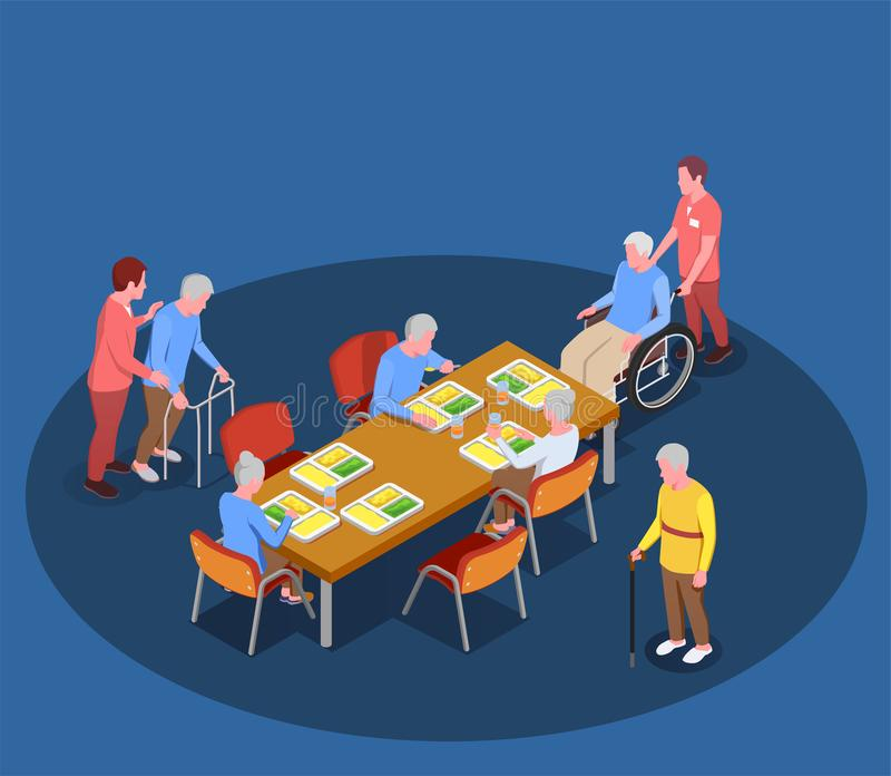 Elderly care In Nursing Home vector illustration