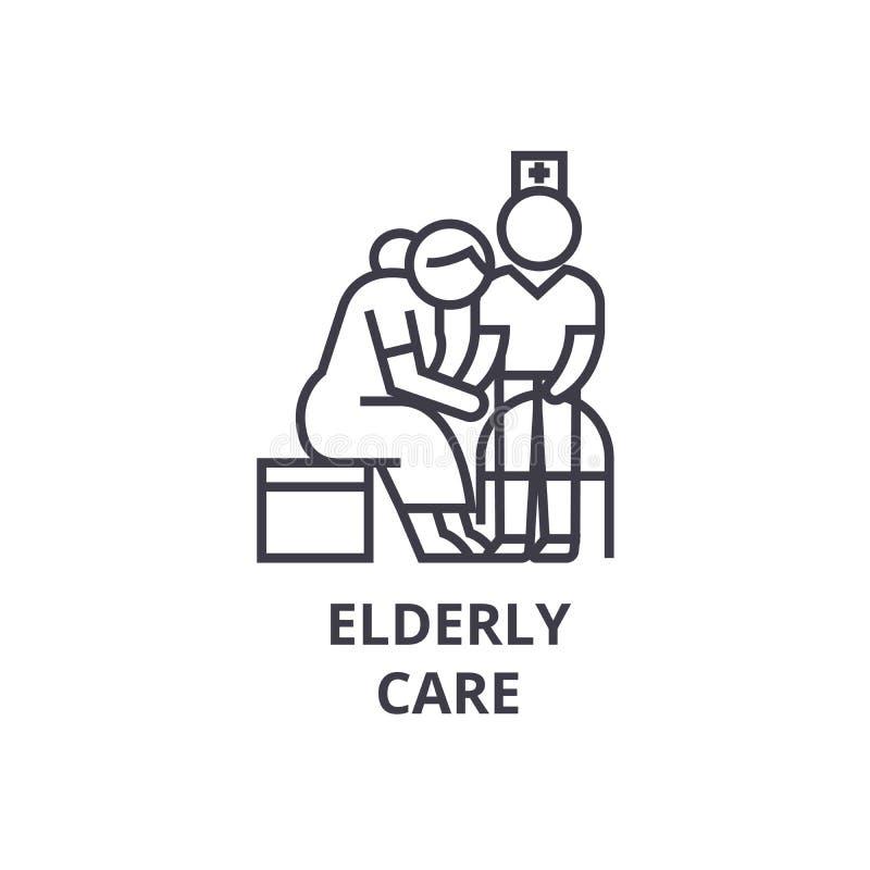 Elderly care thin line icon, sign, symbol, illustation, linear concept, vector vector illustration