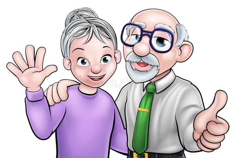 Elderly Cartoon Couple. Cartoon senior elderly grandparents couple royalty free illustration