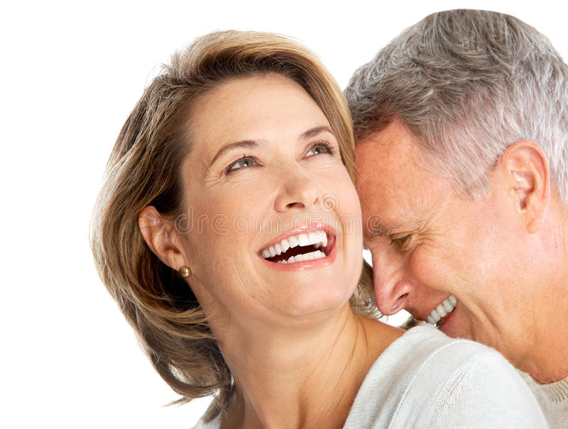 Elderly couple. Happy elderly couple in love. Isolated over white background stock image