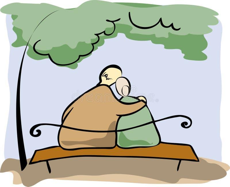 Elderly couple. On a romantic date vector illustration