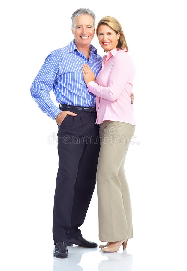 Elderly couple. Happy elderly seniors couple in love. Isolated over white background stock image