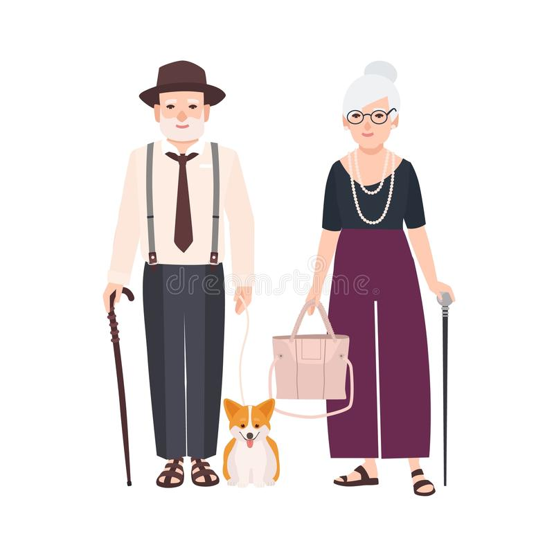 Elderly couple with canes and pet dog on leash. Pair of old man and woman dressed in elegant clothes walking together. Grandfather and grandmother. Flat stock illustration