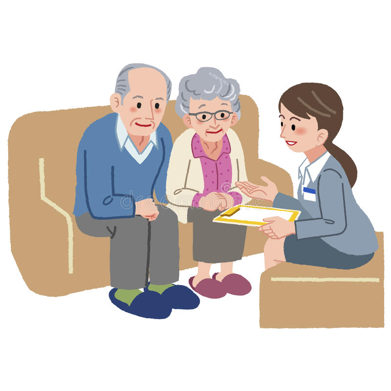 Elderly couple consulting with Geriatric care manager. Elderly couple consults with Geriatric care manager royalty free illustration