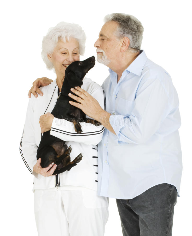 Download Elderly Couple With A Dachshund Stock Photo - Image: 17915412