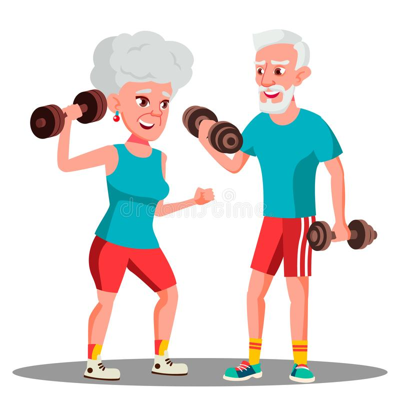 Elderly Couple Doing Sports With Dumbbells Together Vector. Isolated Illustration stock illustration