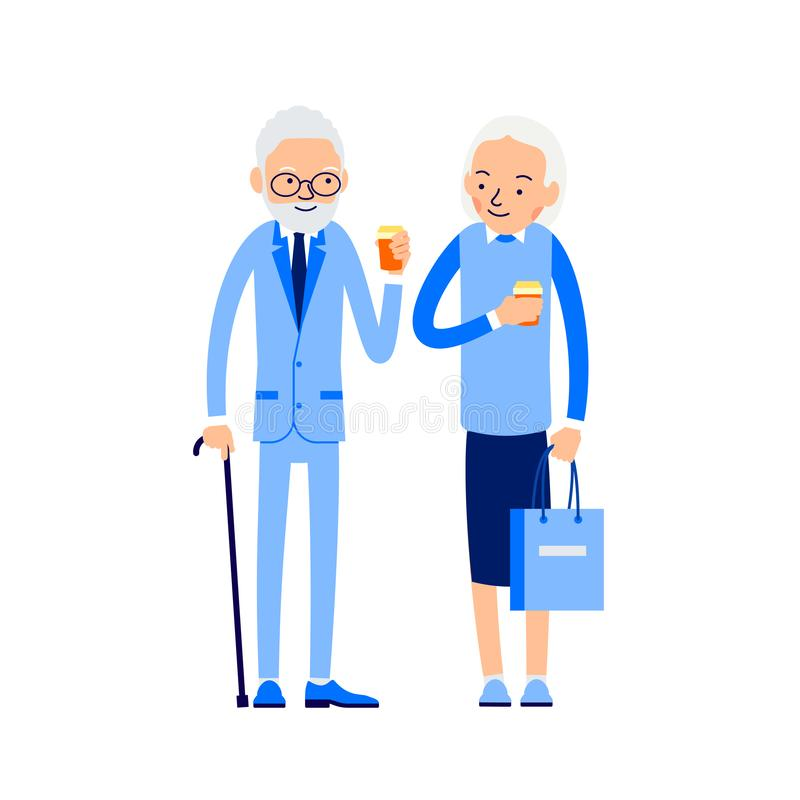 Elderly couple drinking coffee. Old man stands next to an aged w. Oman and they hold coffee cups in their hands. Illustration of people characters isolated on vector illustration
