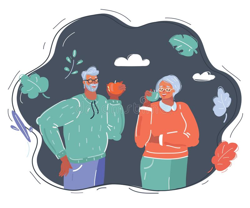 Elderly couple eat apple royalty free stock images