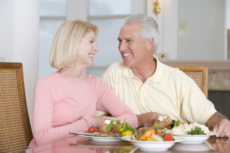 Download Elderly Couple Enjoying Healthy Meal Stock Image - Image: 6881563