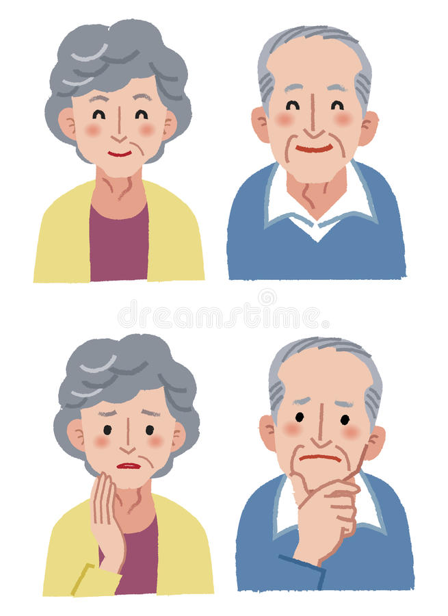 Elderly couple expression. Elderly couple facial expression - happy and anxiety royalty free illustration