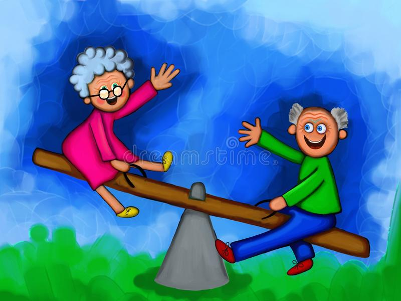 Elderly Couple Feeling Young Again. Digital painting of a cartoon elderly couple having fun on a childs seasaw royalty free illustration