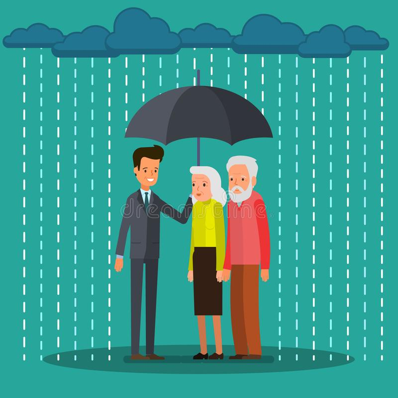 Elderly couple in flat style. Concept of risk security, insurance. Businessman and elderly couple stand together in rain with an umbrella. Flat design, vector stock illustration