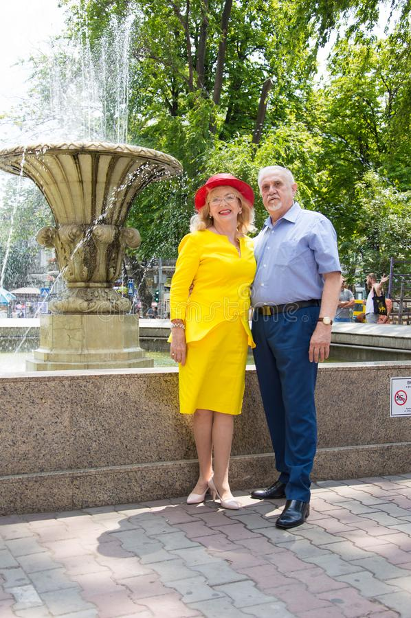 Elderly couple gently looking at each other royalty free stock photography