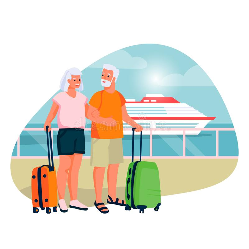 Elderly couple going to sea cruise by ship. Vector flat cartoon illustration of tourism vacation for seniors, pensioners. Elderly couple going to sea cruise by stock illustration