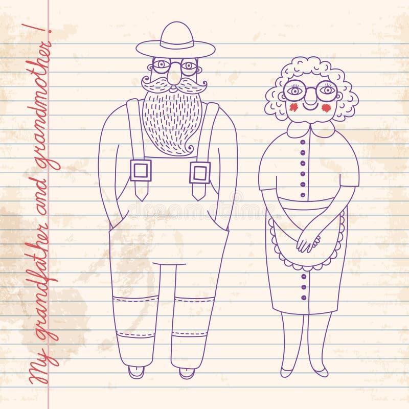 Elderly couple. Grandparents. vector illustration