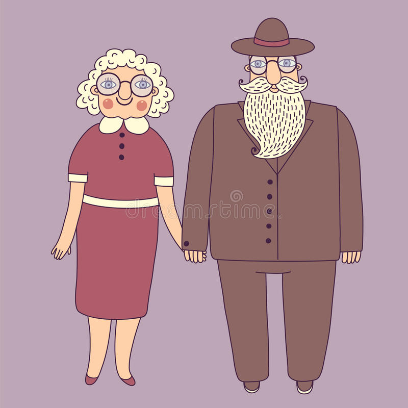 Elderly couple. Grandparents. stock illustration