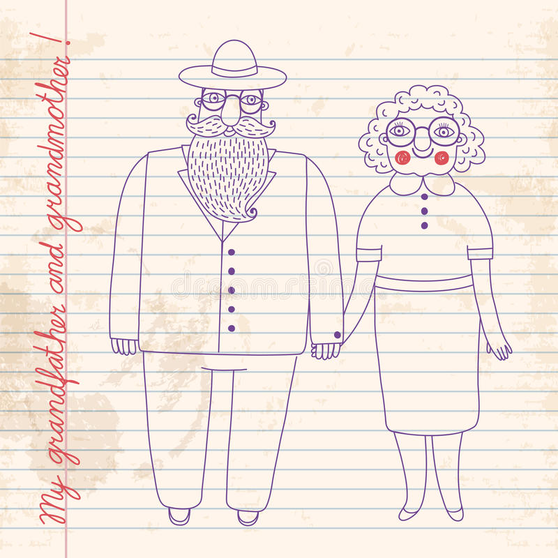 Elderly couple. Grandparents. royalty free illustration